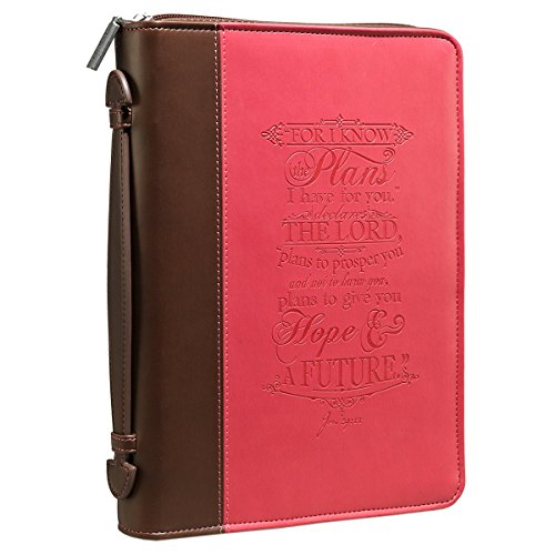 - I Know the Plans Pink & Brown Bible / Book Cover - Jeremiah 29:11 (Medium)