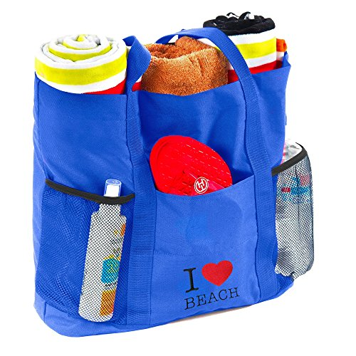 B&C Tote Beach Bag (Blue)- Travel Folding Bag- Large Tote Bag With Many Pockets- Includes Waterproof PVC Pouch