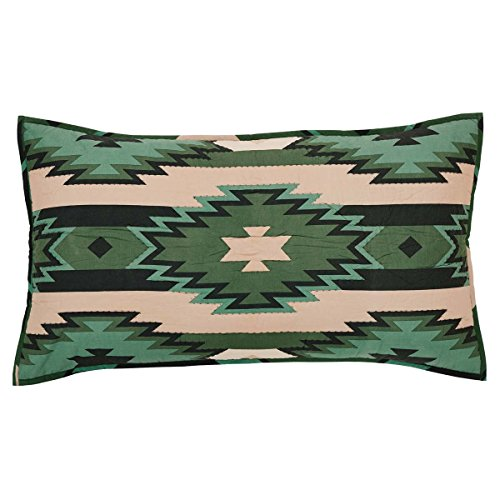 VHC Brands Rustic & Lodge Bedding - Sante Fe Green Sham, King, Pine