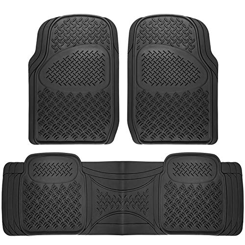 Motorup America Auto Floor Mats (3-Piece Set) All Season Rubber - Fits Select Vehicles Car Truck Van SUV, Diamond Black