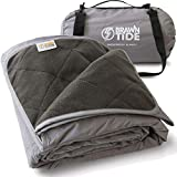 Brawntide Large Outdoor Waterproof Blanket - Quilted, Extra Thick Fleece, Warm, Windproof, with Shoulder Strap, Ideal Stadium Blanket, Great for Camping, Festivals, Picnics, Beaches, Dogs