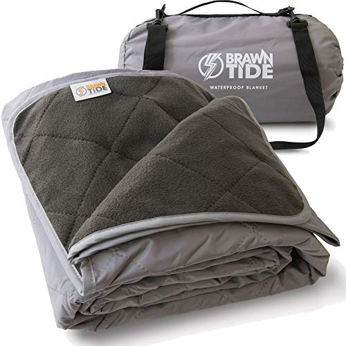 Brawntide Large Outdoor Waterproof Blanket - Quilted, Extra Thick Fleece, Warm, Windproof, Includes Shoulder Strap, Ideal Stadium Blanket, Great for Camping, Festivals, Picnics, Beaches, Dogs (Gray)