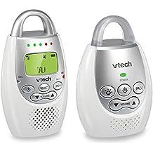 Monitor para bebés de audio digital VTech Communications Safe and Sound, Monitor con una unidad para padres, Blanco/Plateado