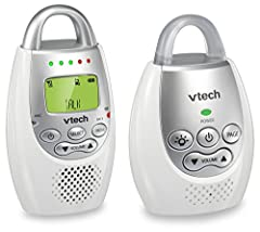 The VTech DM221 Digital Audio Monitor with DECT 6.0 digital technology provides crystal clear transmission, eliminating the annoying white noise you hear from analog monitors. The only sounds you hear are coming from your baby. Totally digita...