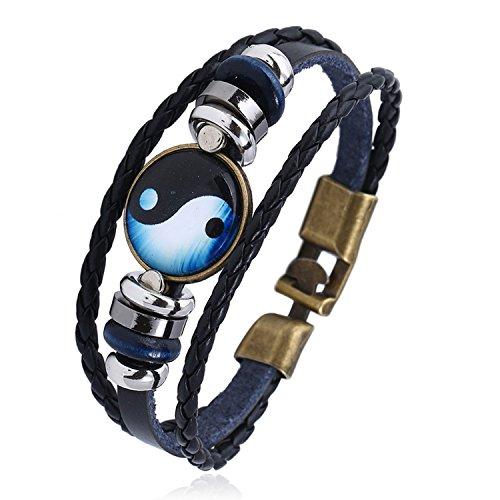 2018 New Buckle Time Gem Bagua Cowhide Bracelet Intercontinental Generation Yin Yang Alloy Leather Bracelet,A