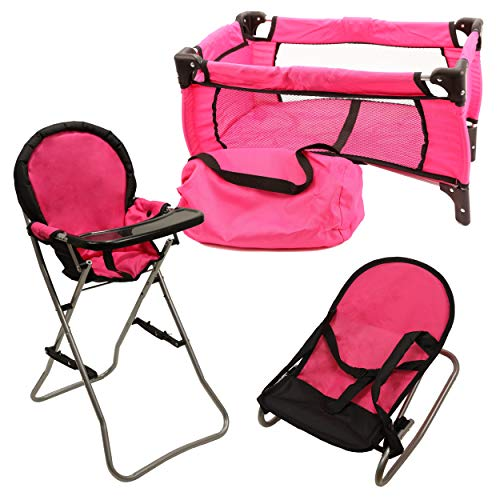 Mommy & Me 3 in 1 Doll Play Set 1 Doll Pack N Play. 2 Doll Bouncer 3.Doll High Chair. Fits 18'' Doll ()