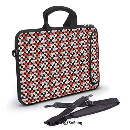 17 inch Laptop Case,Retro Cubes Flat Artsy Boxes in Corners Squares Abstract Design Decorative Neoprene Laptop Shoulder Bag Sleeve Case with Handle and Carrying & External Side Pocket, (Nice Girls Never Get The Corner Office)