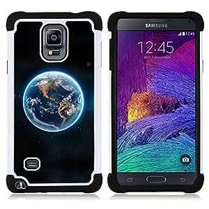 For Samsung Galaxy Note 4 SM-N910 N910 - Blue Planet Earth Continents View Space /[Hybrid 3 en 1 Impacto resistente a prueba de golpes de protecci????n] de silicona y pl????stico Def/ - Super Marley Shop