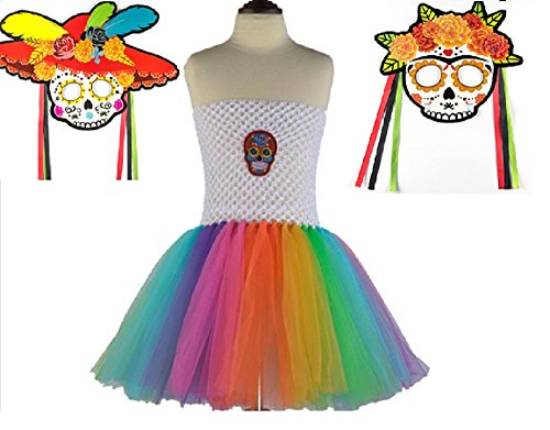 White Rainbow Sugar Skull Tutu Dress Costume from Chunks of Charm (5)