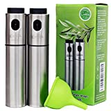 Olive Oil and Vinegar Sprayer Set for Portion Control Cooking and Baking, Includes Silicone Funnel (3 pcs) by Cookisy