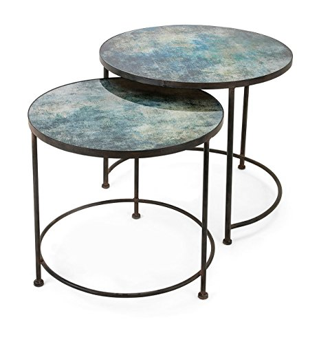 IMAX Paxton Metal and Printed Glass Tables - Set of 2