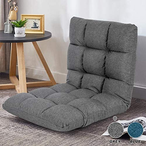 Adjustable Floor Chair with Back Support Folding Floor Sofa Lounge Chair for Adults Video Gaming Lazy Sofa Cushion Chair,Dark Grey