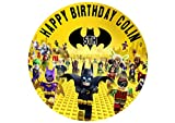 "Lego Batman Edible Cake Topper Personalized Birthday 8"" Round Circle Decoration Party Birthday Sugar Frosting Transfer Fondant Image ~ Best Quality Edible Image for Cake"
