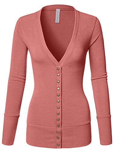 Mixed Knit V-Neck Brass Snap Button Sweater Cardigans dusty Rose Large
