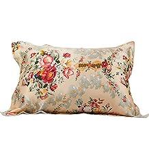 Natural Silk Pillowcase for Hair and Skin Beauty Anti-Aging Retro Floral Print Women Silk Pillowcase Standard/Queen