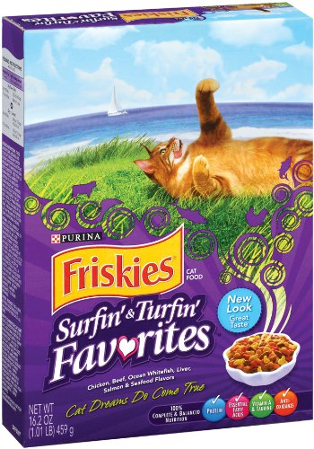 Purina Pet Care Friskies Dry Cat Surf and Turf Variety, 16.2-Ounce (Pack of 12), My Pet Supplies