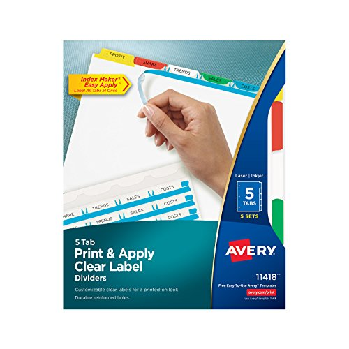 Avery Index Maker Clear Label Dividers, Easy Apply Label Strip, 5 Tab, Multi-Color, 5 Sets (11418)