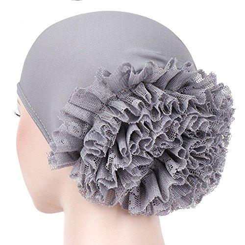 CHIDY Women Floral India Hat Muslim Ruffle Pure Color Trend Anti-Hair Loss Cap Beanie Scarf Turban Wrap Cap]()