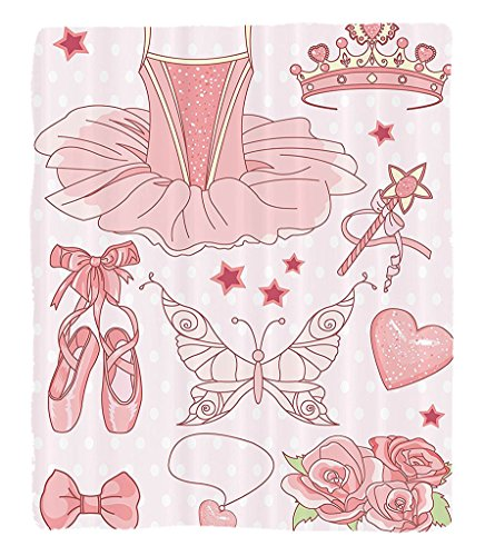 Chaoran 1 Fleece Blanket on Amazon Super Silky Soft All Season Super Plush Teen Girls Decor Collectionet of Princess Ballerina Accessories Classic Costumehoes Tiara Roses Image Pattern Fabric et Pink (Queen Mary Tiara)