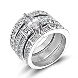 TIGRADE Stainless Steel Women's Silver Wedding Ring Set White Clear Cubic Zirconia Marquise Style Band Size 5 - 11 (8)