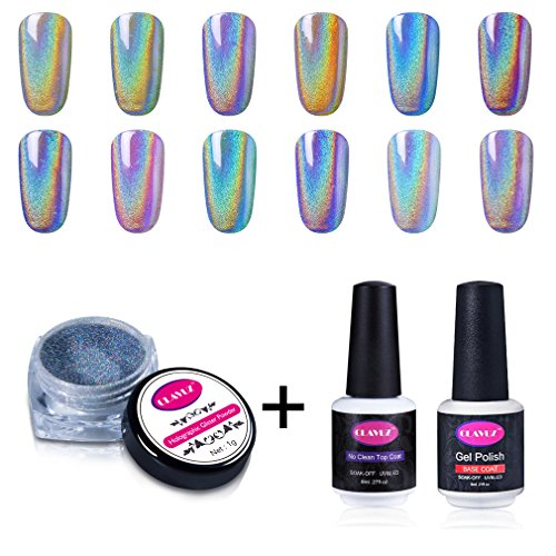 CLAVUZ 1g/Box Laser Holographic Nail Powder Rainbow Chrome N