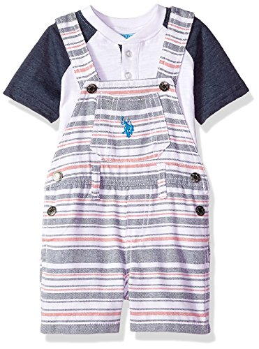 U.S. Polo Assn. Baby Boys T-Shirt and Short Set, Striped Coverall Colorblock Top Multi Plaid, 12M - Le Top Boys Coverall