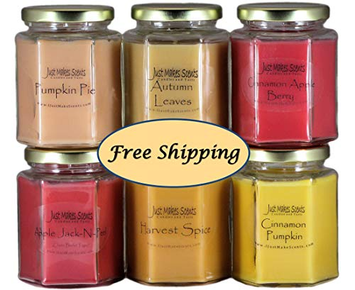 (PICK-A-SCENT Fall Scent Candle 6 Pack - Choose Your Own Scents - Mix and Match to Build Your Own Autumn Candle Bundle - Scented Candles Made With Blended Soy Wax - FREE SHIPPING)