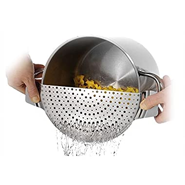 Westmark Germany Stainless Steel Pan Pot Strainer With Recessed Hand Grips Suitable For All Sizes Up To 10 Inches