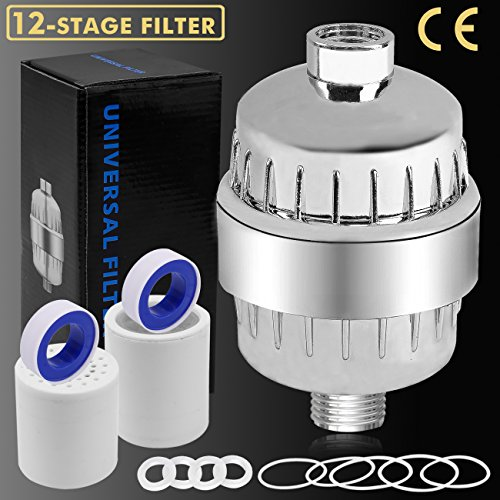 12-Stage Shower Filter Water Purifier Hard Water Softener with Replacement Cartridges, Fit Most Shower Head and Handheld Shower, Remove Chlorine Fluoride Heavy Metals for Hair & Skin Health - Chlorine Shower Filter