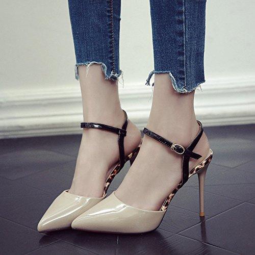 femme été fine Chaussures fendue hauts à pointu en Sandales Rouge Chaussures GAOLIM avec beige foncé talons Cravate femelle xSYIvqwZq
