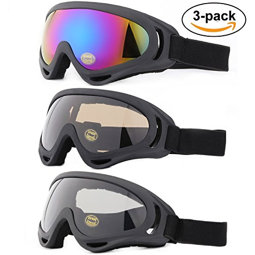 Ski Goggles, Yidomto Pack of 3 Snowboard Goggles for Kids,Boys,Girls,Youth, Mens,Womens,with UV Protection,Windproof,Anti Glare(multicolor/Grey/Tawny)