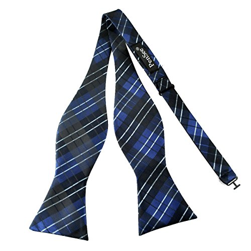 PenSee Mens Self Bow Tie Multi-color Plaids & Checked Jacquard Woven Silk Bow Ties