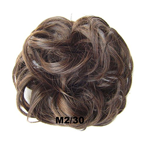 Girls Curly Scrunchie Chignon With Rubber Band Brown Blonde Synthetic Hair Ring Wrap For Hair Bun Ponytail Yellow
