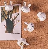Cute 3D Cartoon Wooden Rabbit Head Pushpins for Corkboard / Decrorative Thumb Tacks Set of 5 PCS