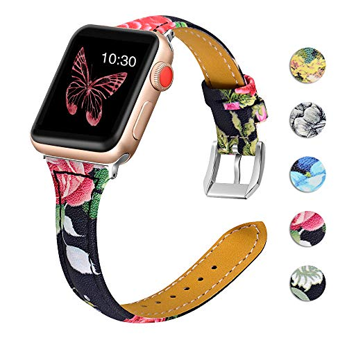 OULUCCI Leather Bands Compatible Apple Watch 38mm 40mm Slim Replacement Wristband Sport Strap for Iwatch Nike+ Series 4 3 2 1 Edition Metal Stainless Steel Buckle Clasp