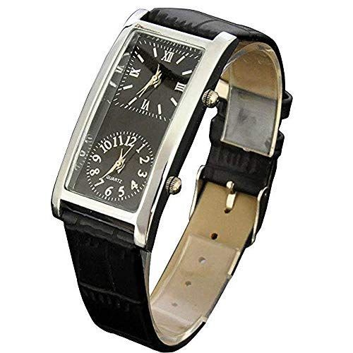 Black Dial Dual Timezone Womens Analog Quartz Leather Band Wrist Watch