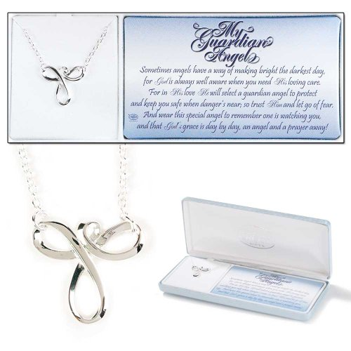 Dicksons My Guardian Angel Silver Plated 18 inch Mobius Charm Pendant Necklace -