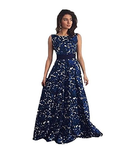 Women Dress Nighter Ladies Floral Sleeveless Backless Long Party Dress (M)