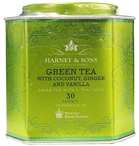 Harney & Sons Green Tea with Coconut, Ginger, and Vanilla Tea Tin - Green Tea with a Thai Twist - 2.67 Ounces, 30 Sachets