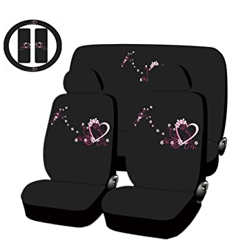UAA® SPRING LOVE Black Steering Wheel Cover /& Belt Pads Universal-fit car truck