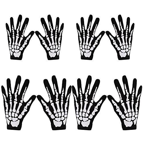 Pangda 4 Pairs Halloween Skeleton Gloves Skull Fancy Dress Accessory for Adult and Child Costume Gloves -