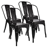 JUMMICO Metal Dining Chair Stackable Indoor-Outdoor Chairs Bistro Cafe Metal Chairs For Kitchen Patio Restaurant Use Set of 4 (Black)