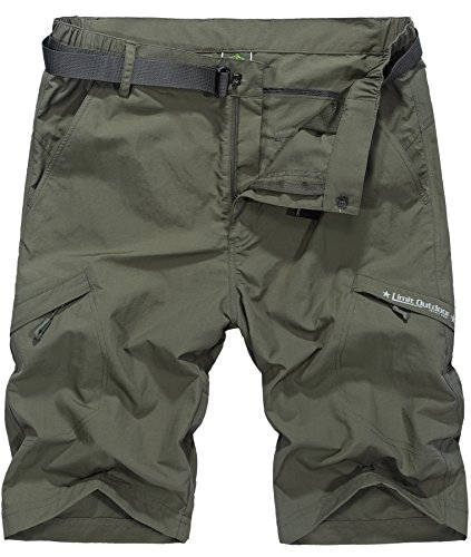 Vcansion Men's Outdoor Lightweight Hiking Shorts Quick Dry Shorts Sports Casual Shorts Army Green US 34