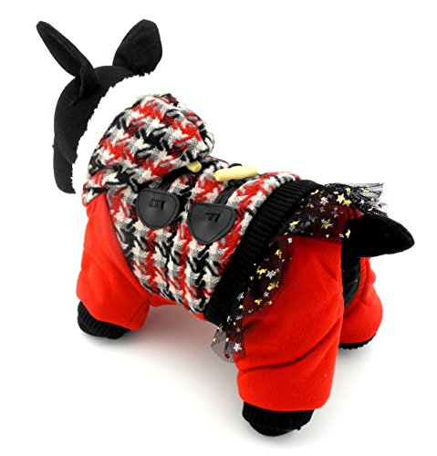 PEGASUS SELMAI Pet Outfits Hooded Dog Jumpsuit Houndstooth Warm Small Dog Clothes Fleece Lined Dog Coat for Winter Red XL