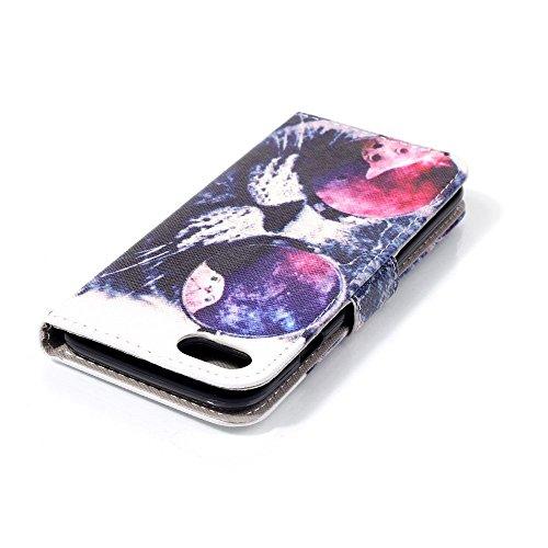 Apple iPhone 7Sac étui Cover Case de protection tendance chat Multicolore decui Multicolore Housse en simili cuir