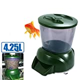 udgtee LCD Digital 4.25L Auto Pond Fish Feeder with Programmable Automatic Dispenser Food Timer Large Capacity