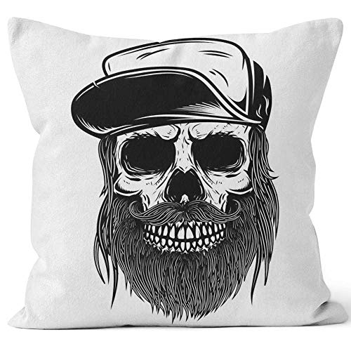 "Nine City Bearded Skull in Baseball Cap Design Element for t Shirt Throw Pillow Cover,HD Printing for Sofa Couch Car Bedroom Living Room D¨¦cor,28"" W by 28"" L"