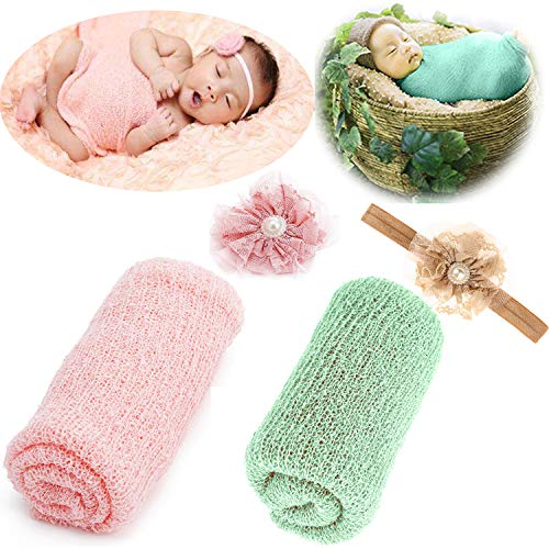 Newborn Baby Photography Props - Long Ripple Wrap Blanket and Lace Beads Headband (OneSize, Pink+Green)
