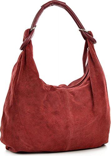 CNTMP - bolso para señora, bolsos hobo, bandoleras, bolsos de tendencia, gamuza, bolso de cuero, din-a4, 44x36x4cm (l x an x a) Burdeos