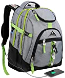 Travel Laptop Backpack,College School Backpack With USB Charging Port, Extra Large TSA Water Resistant Business Backpack,Big Computer Bag Fit 15-6 Inch Laptop And Notebook-grey&green
